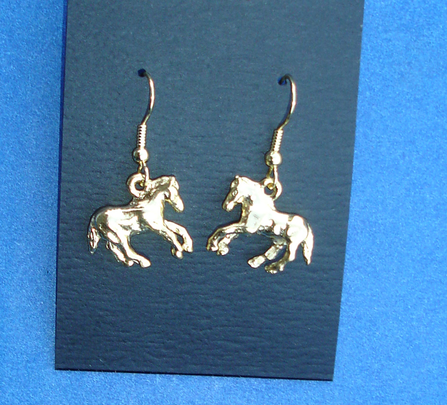 Western Cowgirl Jewelry ~Gold Horse~ French Wire Dangle Earrings | eBay