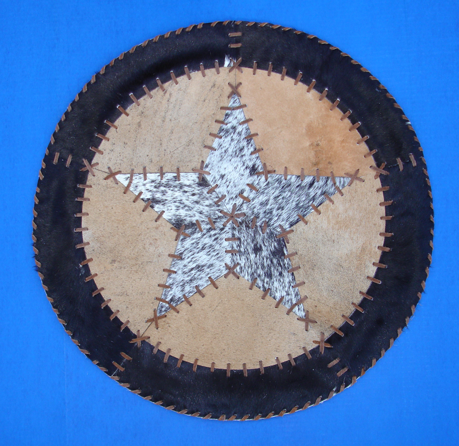 """Throw Rugs Secure: Western Cabin Lodge Decor Cowhide 27"""" Round Rawhide Laced"""