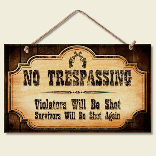 Western Lodge Cabin Decor No Trespassing Wood Sign W Braided Rope Cord